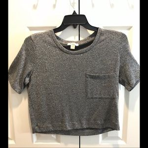 Gray, & Silver, Crop-Top, with front Pocket!